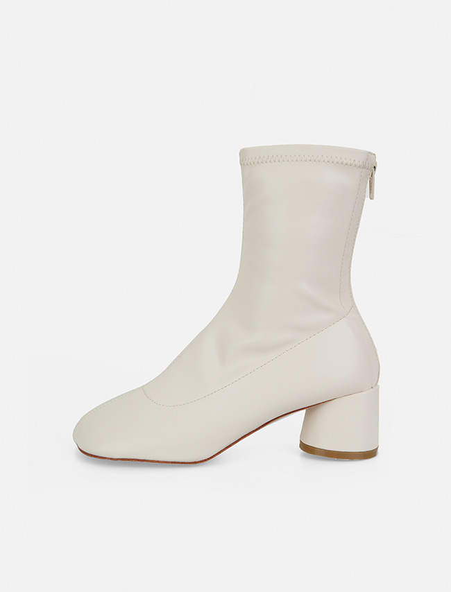 Back Zip Block Heel Ankle Boots