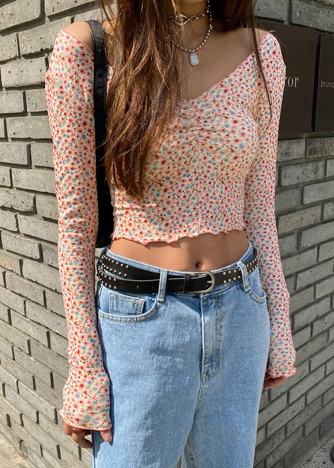 Floral Shirred Off-Shoulder T-Shirt