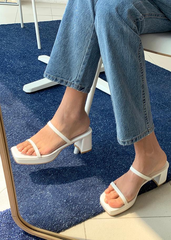 Open Toe Two-Strap Block Heel Sandals