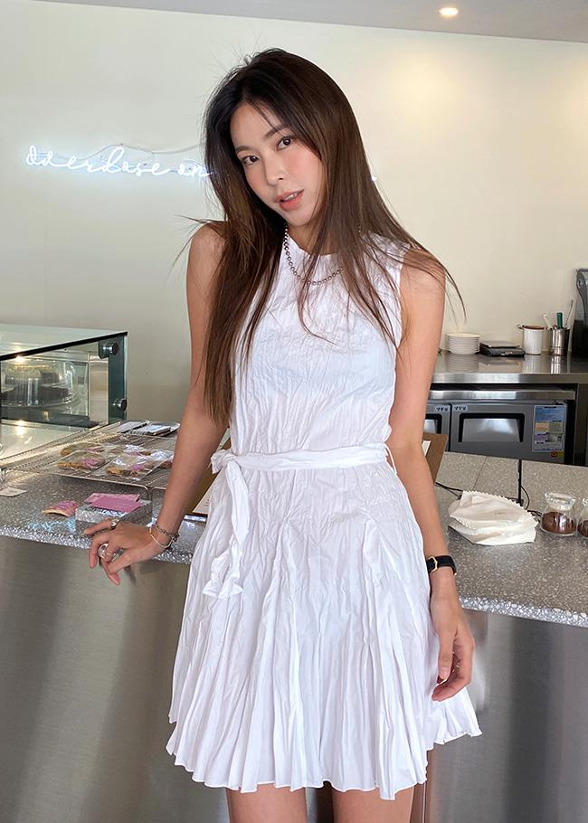 Tie-Waist Sleeveless Dress