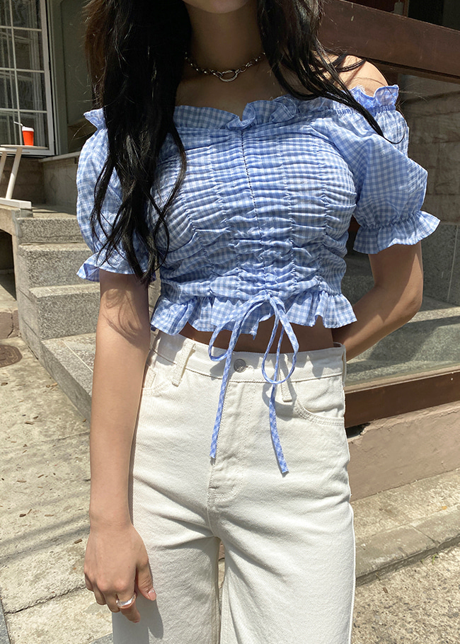 Check Shirred Cropped Blouse