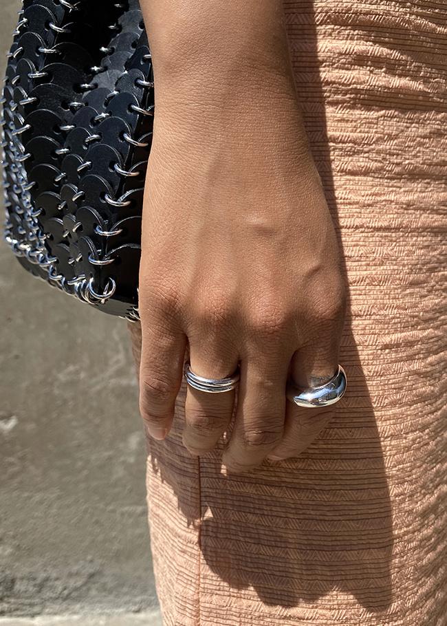 Metallic Three-Ring Set