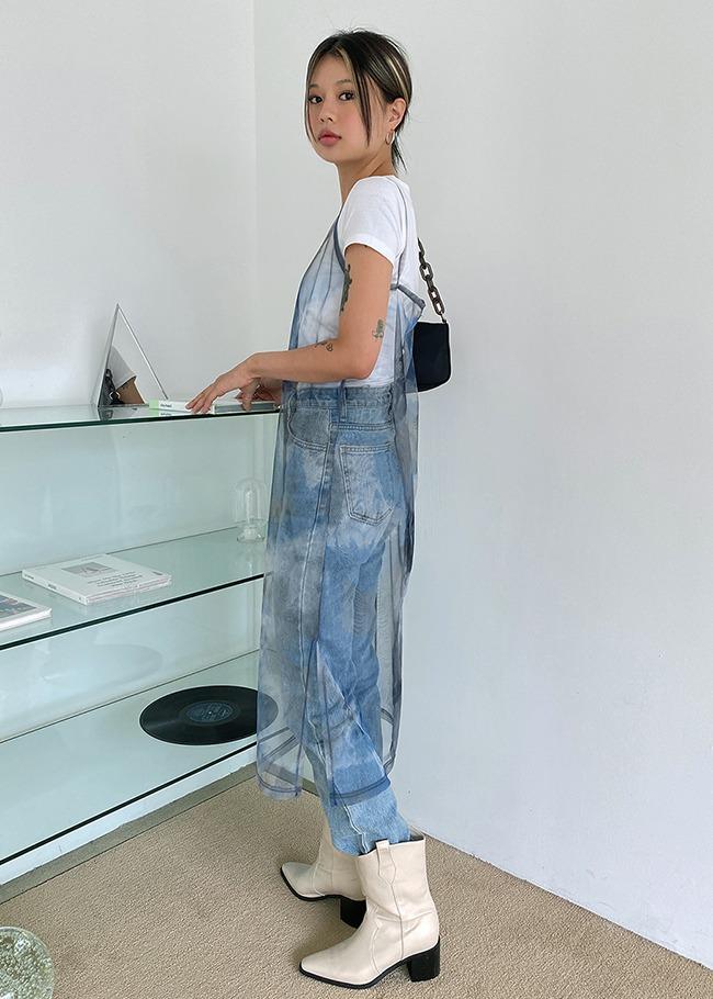 Watercolor Sheer Sleeveless Dress