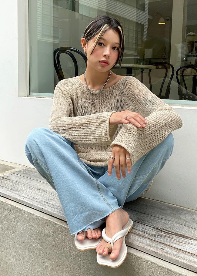 Wide Neck Basic Sheer Knit Top