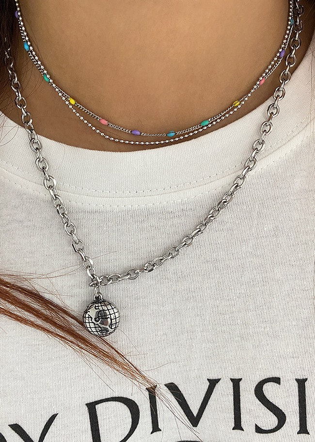 Colored Ball Accent Necklace