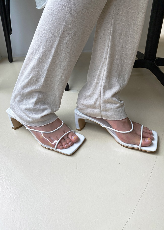 Clear Strap Mid Heel Sandals