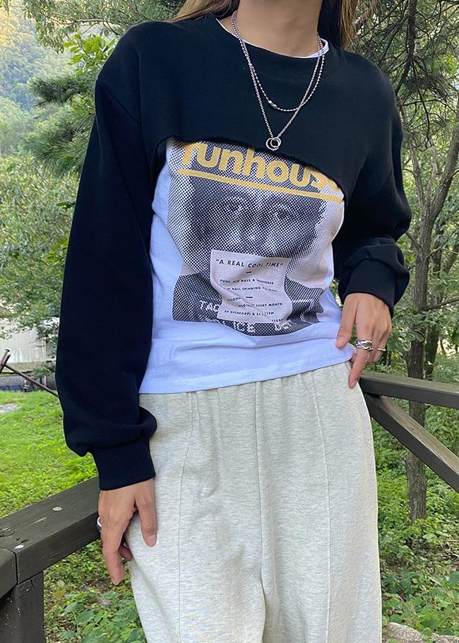 Extended Sleeves Cropped Sweatshirt