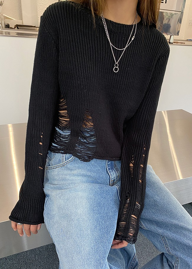 Distressed Cut Cropped Knit Top