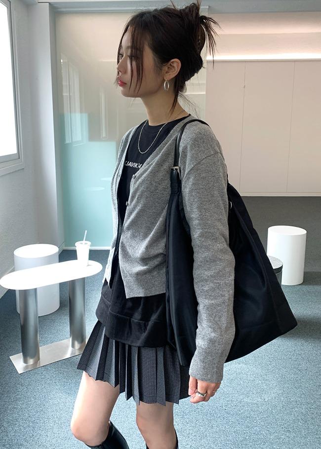 Check Pleated Mini Skirt