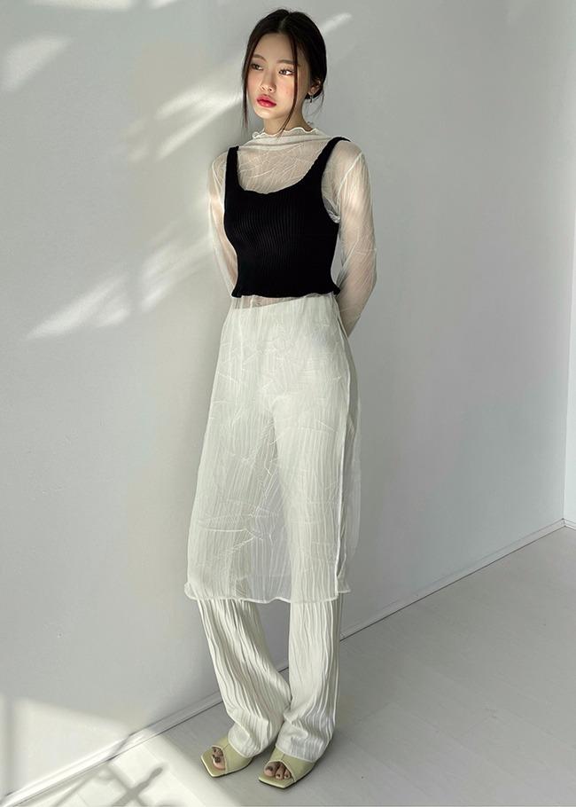Wavy Trim Sheer Dress