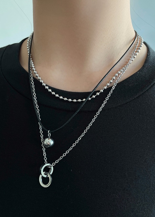 Metallic Two-Ring Pendant Necklace