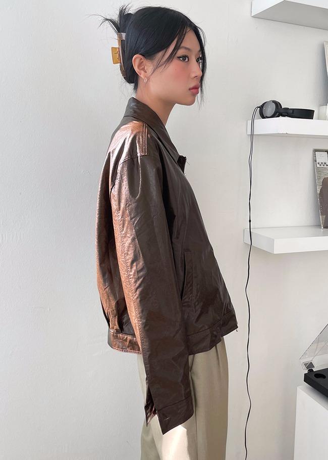 Basic Zippered Faux Leather Jacket