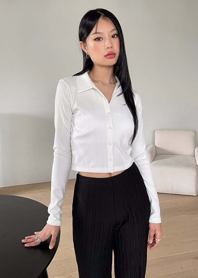 Collared Cropped Blouse