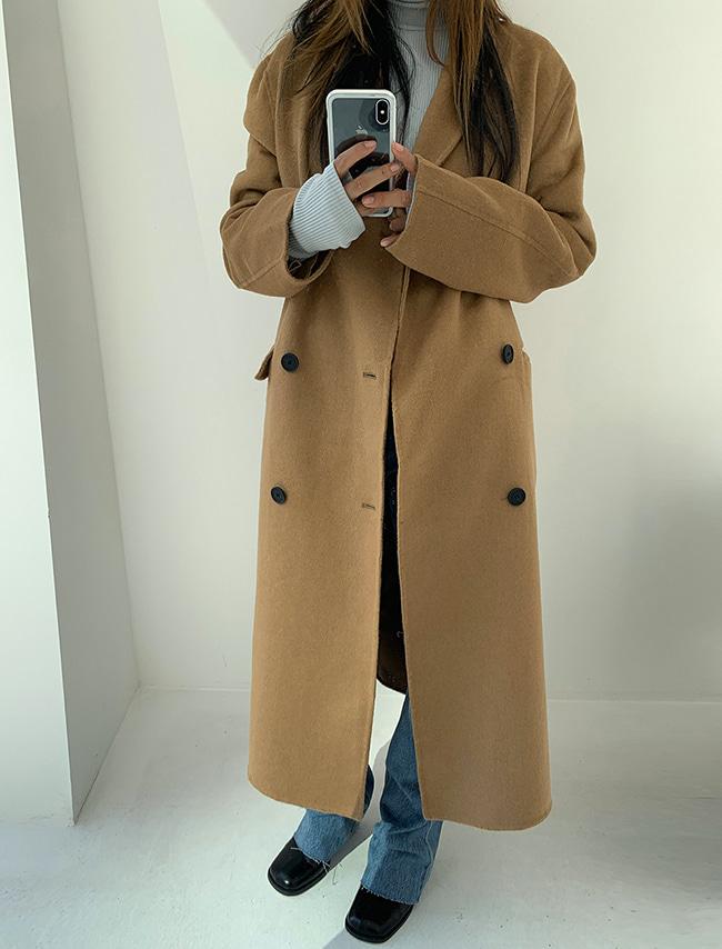 Basic Double-Breasted Long Coat