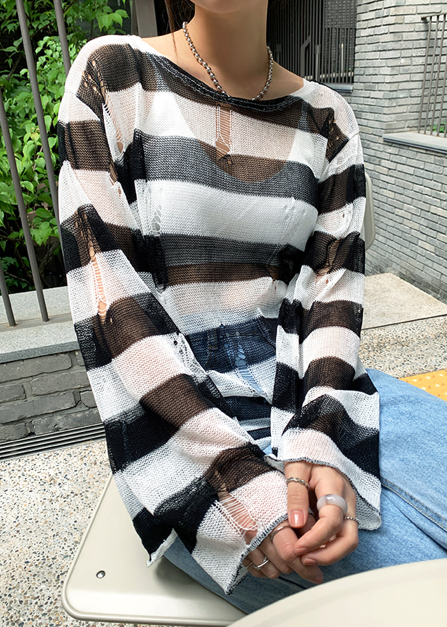 Sheer Distressed Cover Knit Top