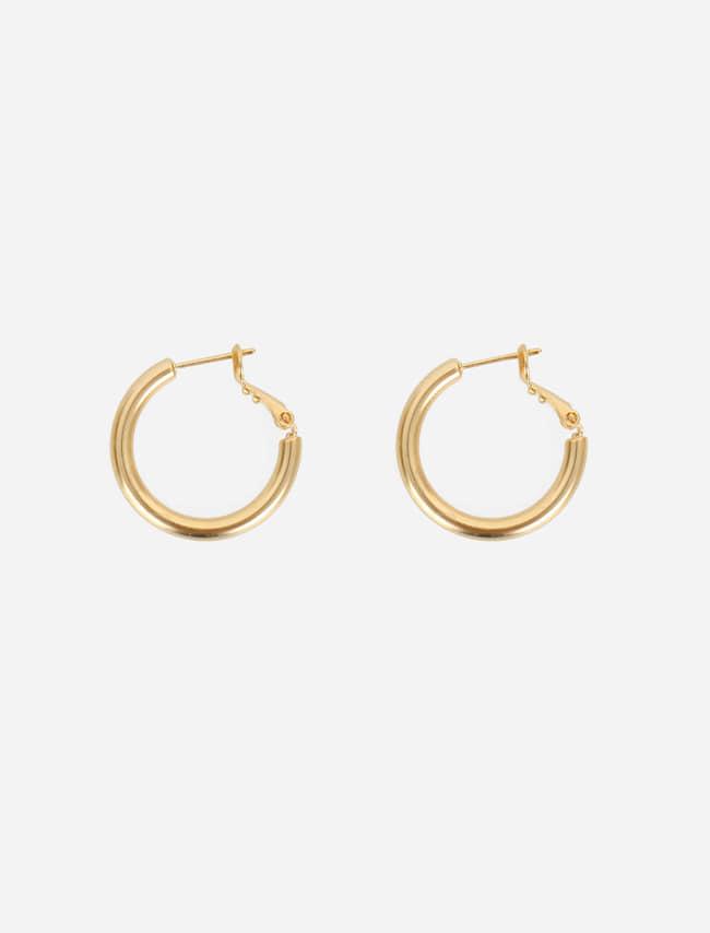 閃耀光采易扣式圓圈金屬耳環