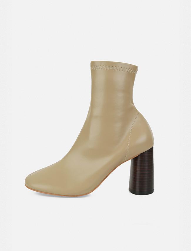 純色皮革木紋圓跟短靴