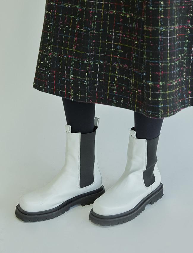 簡約色系厚底皮革切爾西靴