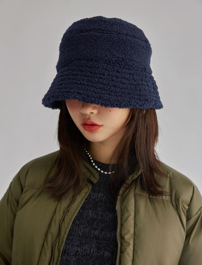 暖心絨毛感純色漁夫帽