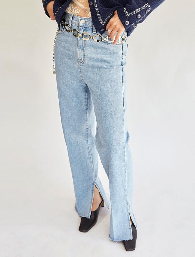 特色側開衩直筒牛仔褲