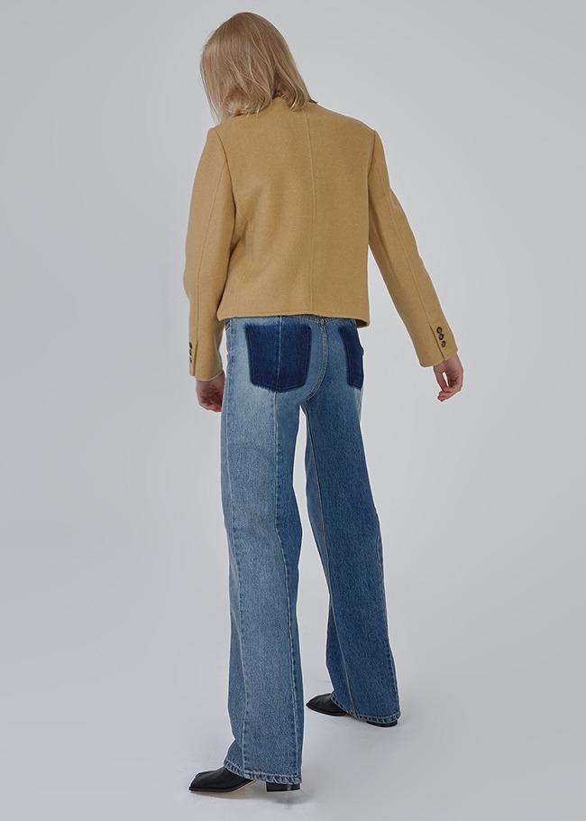 配色設計假口袋直筒牛仔褲
