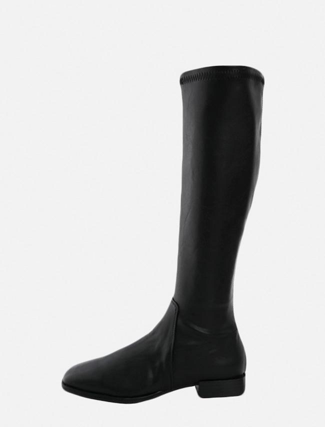 DARKVICTORY簡潔單色方頭及膝長靴