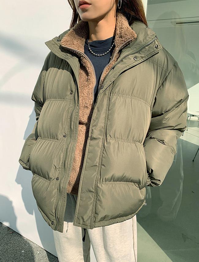 DARKVICTORY魅力純色中高領羽絨棉外套