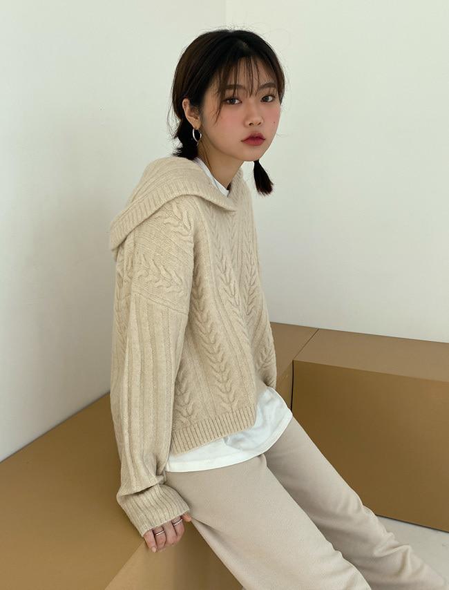 DARKVICTORY麻花紋連帽混羊毛針織上衣