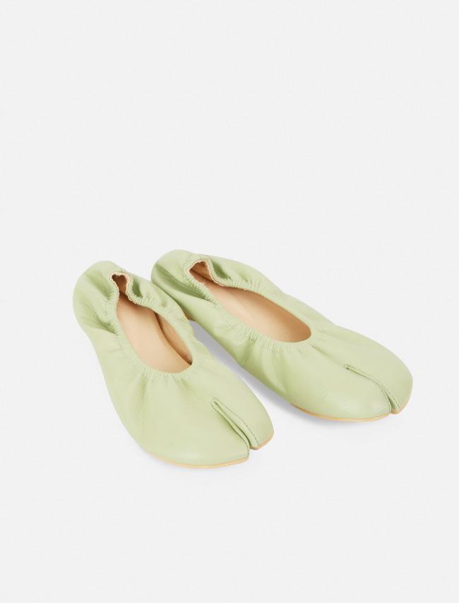 DARKVICTORY鬆緊設計皮革分趾平底鞋