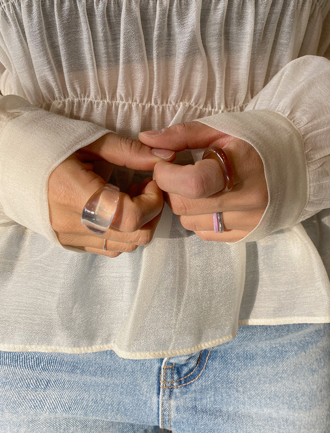 DARKVICTORY純淨清新透明凸面戒指
