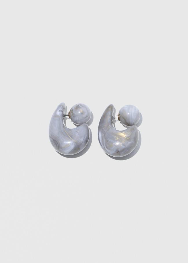 DARKVICTORY濃郁混色感弧面幾何形耳環