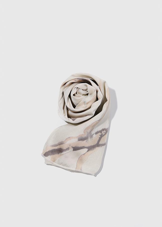 DARKVICTORY配色紋路印花緞面方巾