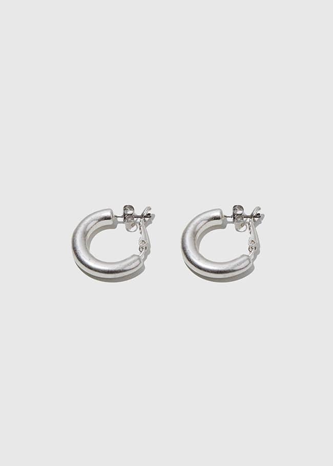 DARKVICTORY雙釦設計啞光金屬圓圈耳環