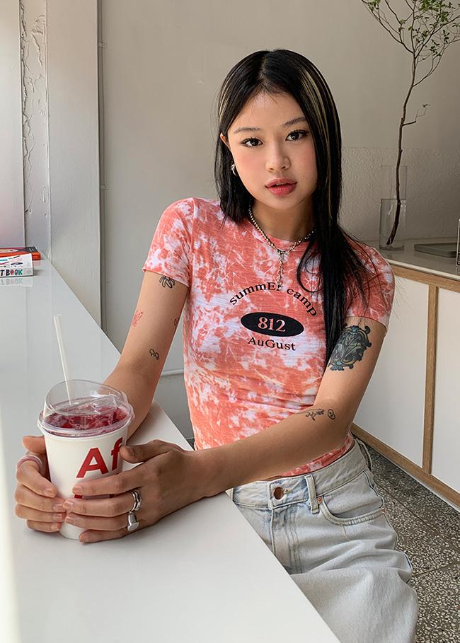 DARKVICTORYsummEr camp印字短版T恤(橘色)