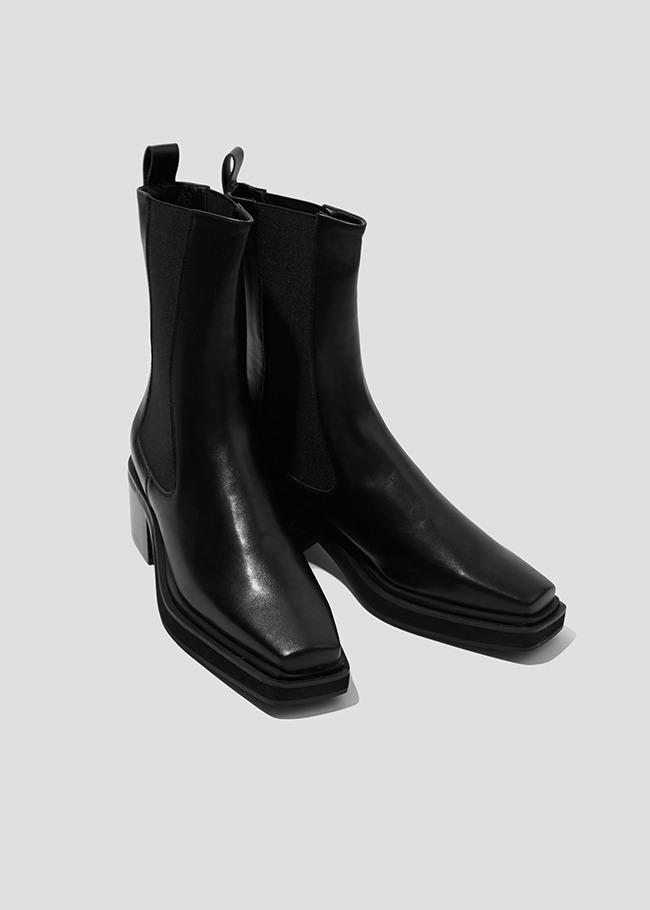 DARKVICTORY造型粗跟切爾西中長靴