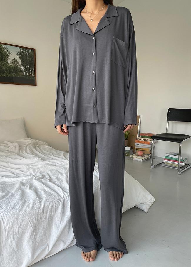 DARKVICTORY[套裝]極簡風範素色睡衣褲套裝