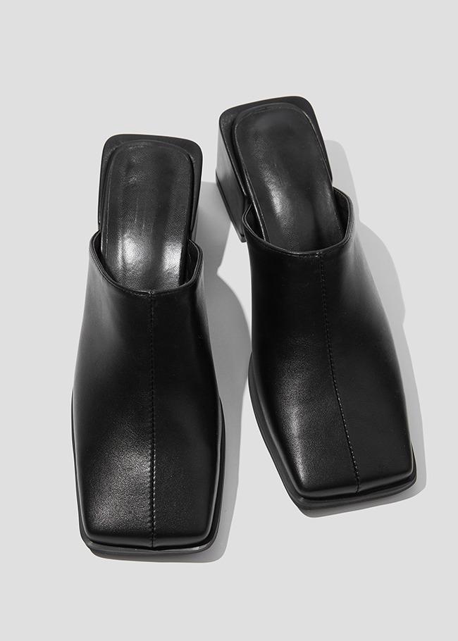 DARKVICTORY車縫中線粗跟方頭穆勒鞋