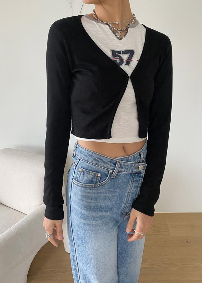 DARKVICTORY鉤釦短版羅紋針織外套