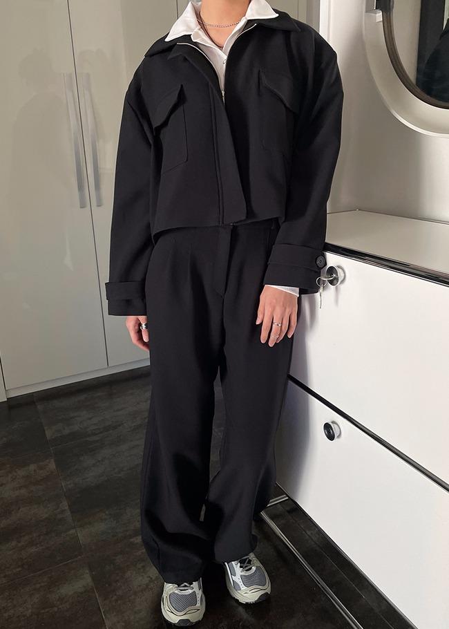 DARKVICTORY[套裝]休閒韻味翻領外套西裝寬褲套裝