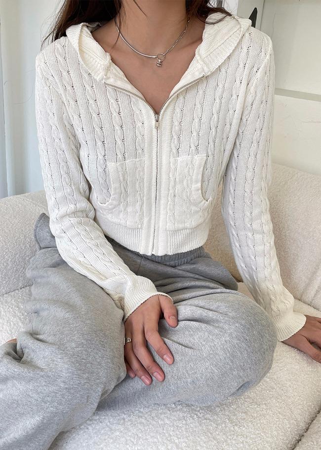 DARKVICTORY麻花紋連帽拉鍊針織外套