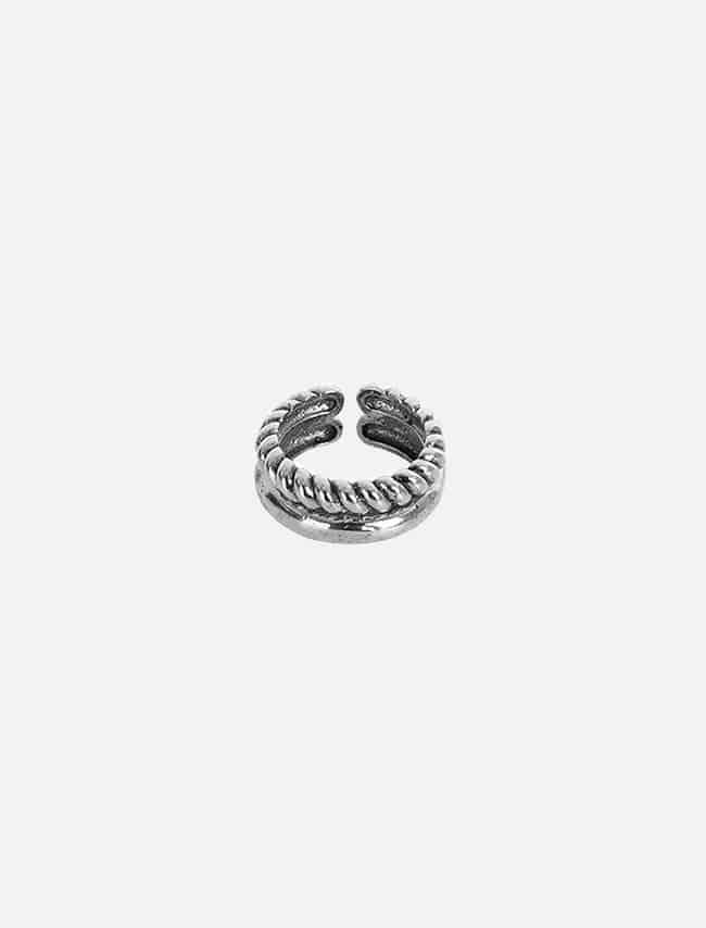 DARKVICTORY雙層麻繩雕刻造型戒指(銀色)
