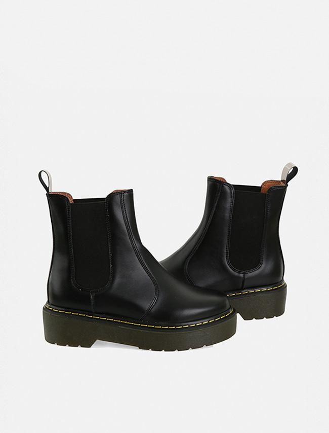 DARKVICTORY率性時尚鬆緊帶拼接厚底短靴