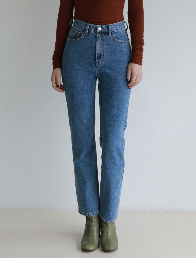 DARKVICTORY高腰復古刷色直筒牛仔褲