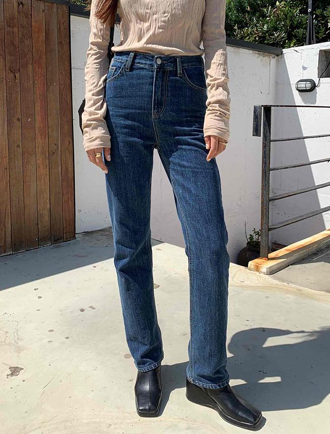 DARKVICTORY迷人身姿高腰直筒牛仔褲(深牛仔藍色)