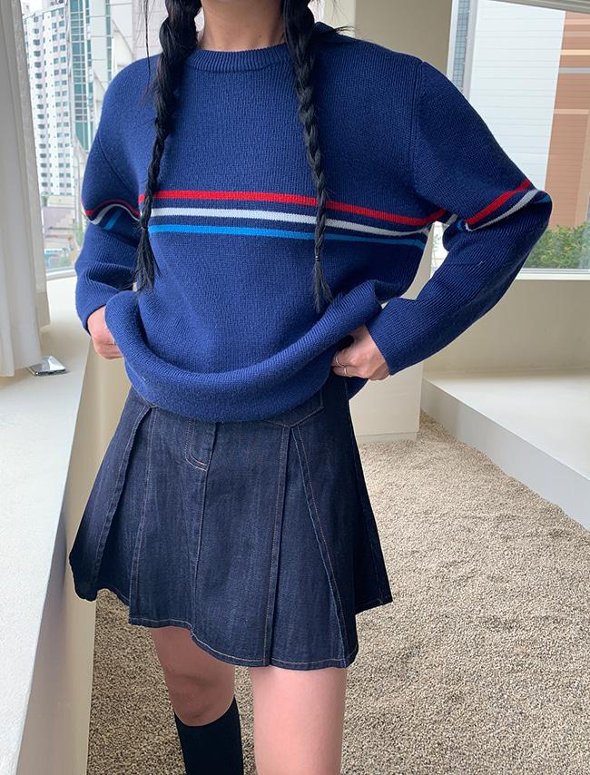 DARKVICTORY配色橫線圓領羊毛針織上衣