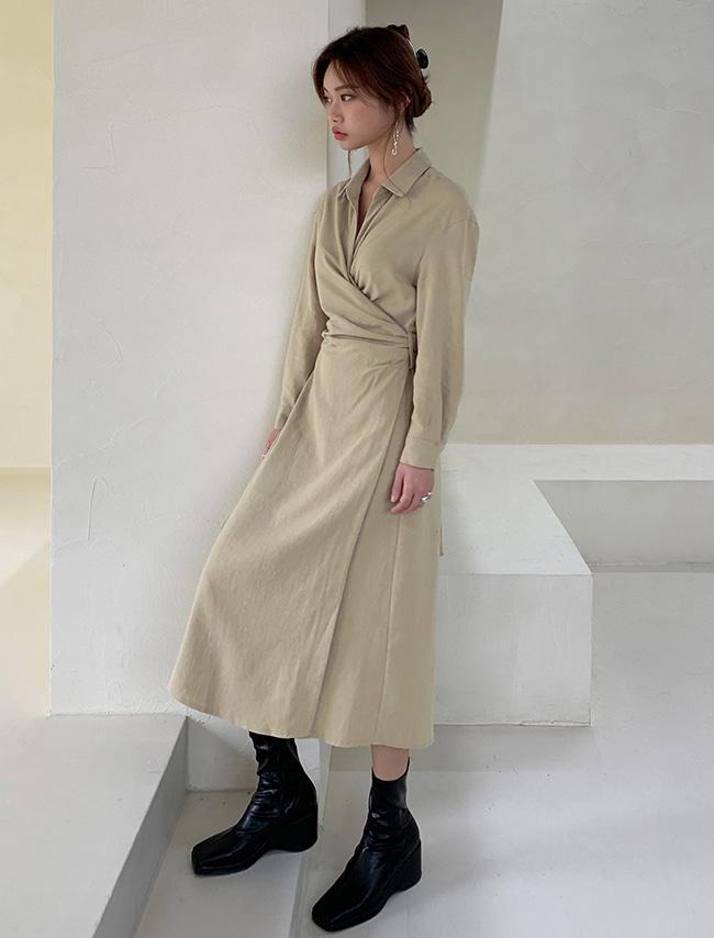 DARKVICTORY翻領交疊半開襟綁帶長袖洋裝