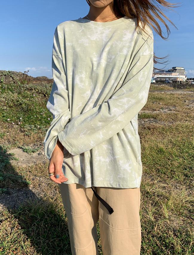 DARKVICTORY配色大理石紋棉質長袖T恤