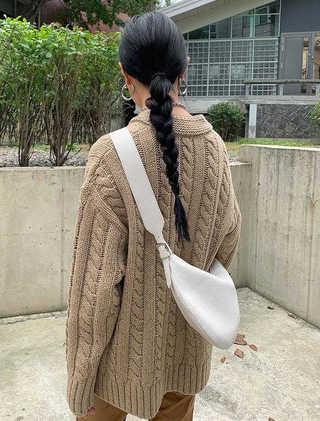 DARKVICTORY半圓形純色拉鍊仿皮肩背包