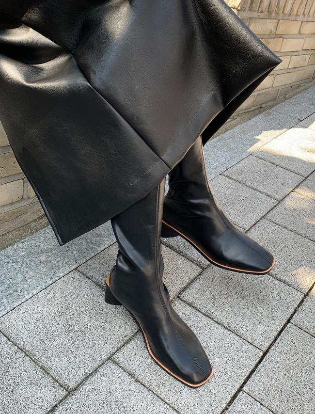 DARKVICTORY秋冬時尚純色仿皮後拉鍊長靴