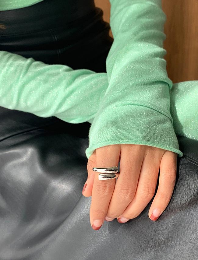 DARKVICTORY環繞螺旋造型金屬戒指(銀色)